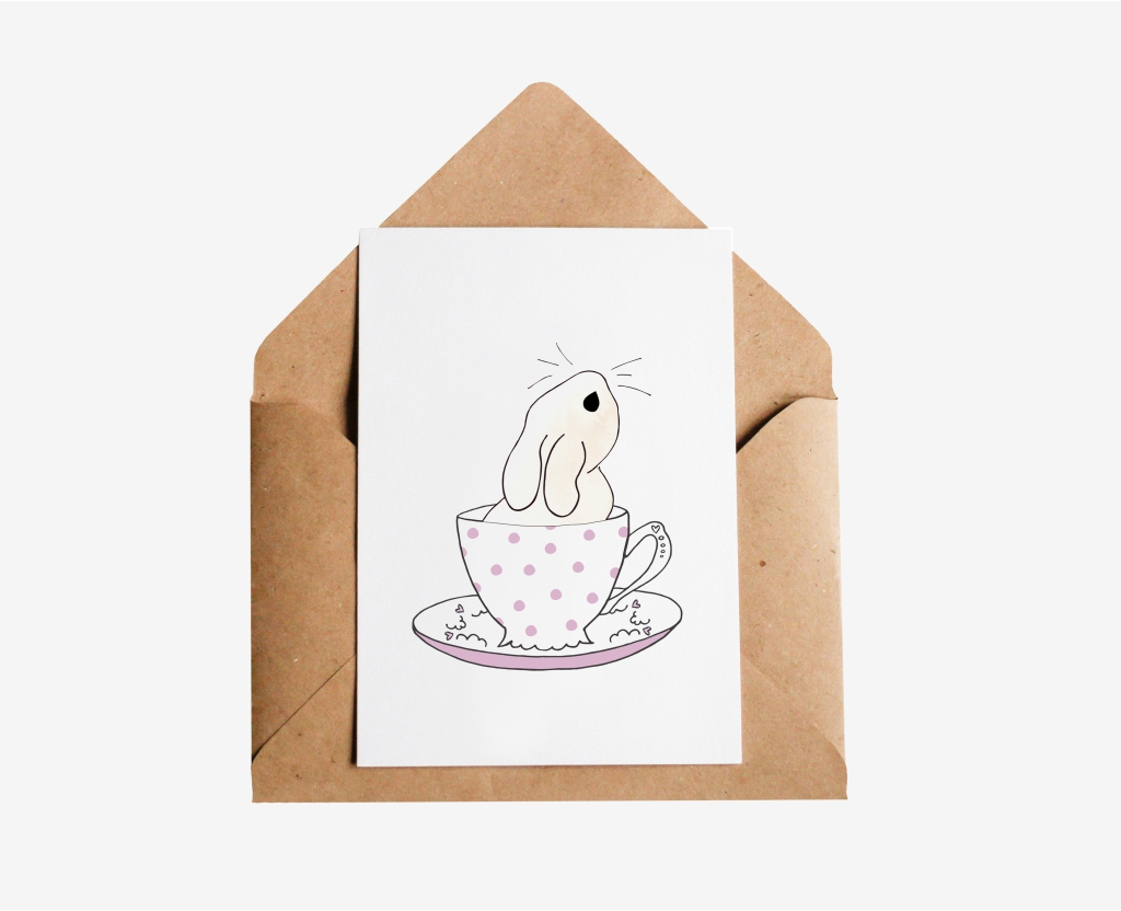 Teacup Bunny Postcard