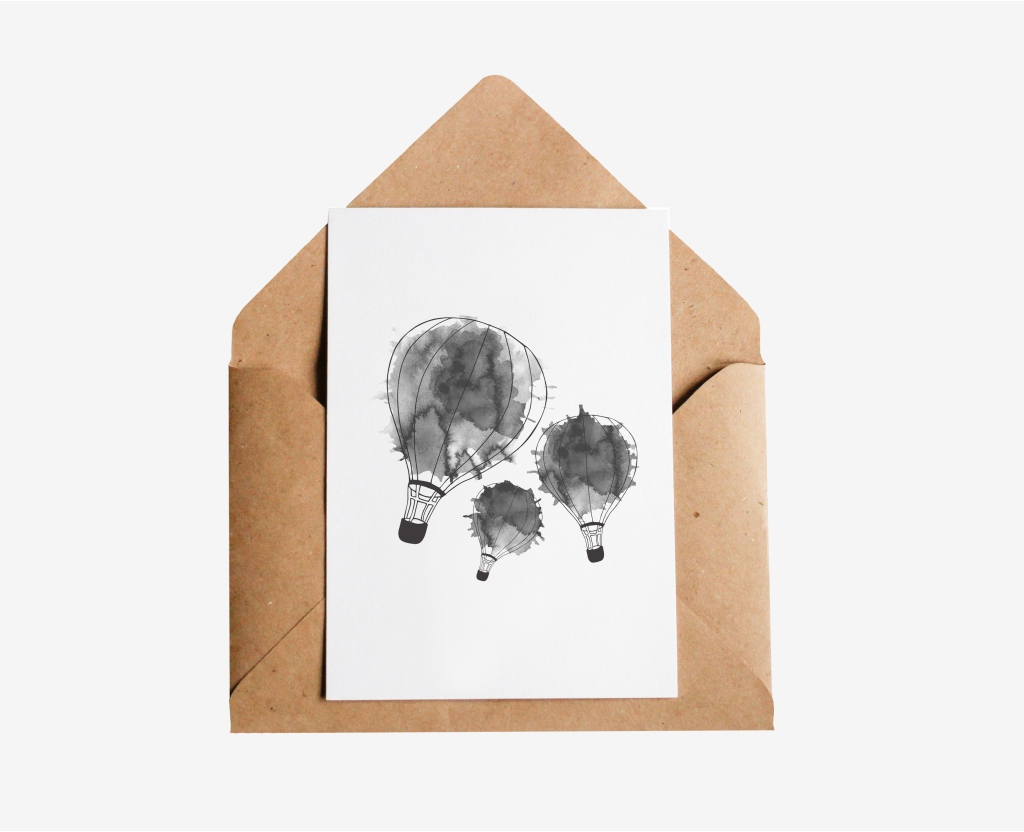 Watercolour Air Balloons Postcard
